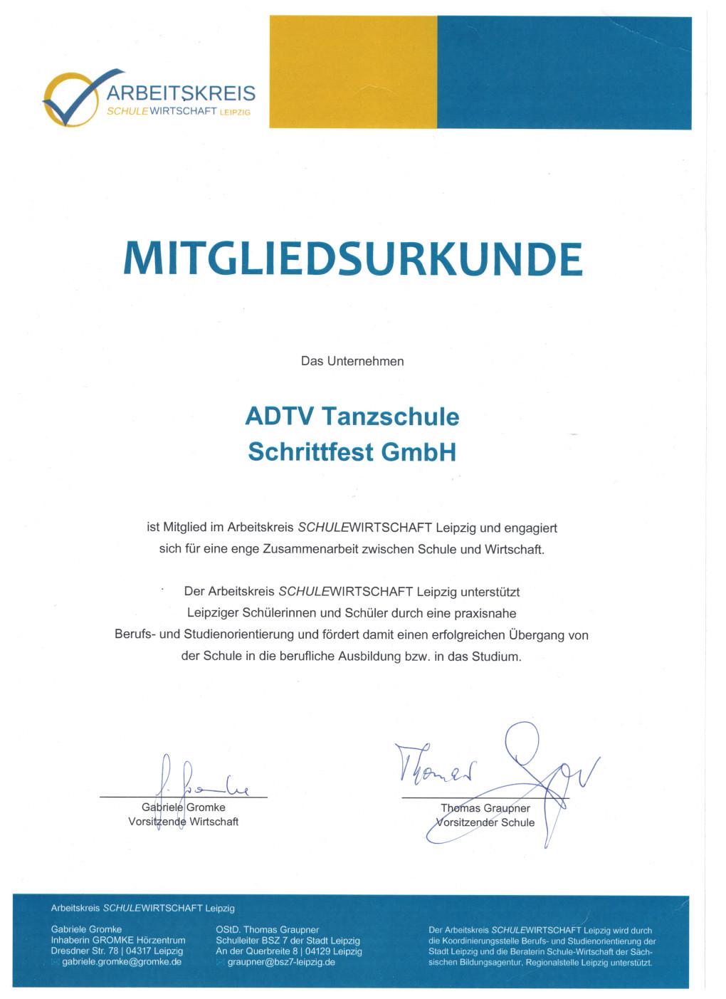 Mitgliedsurkunde Arbeitskreis SchuleWirtschaft Leipzig